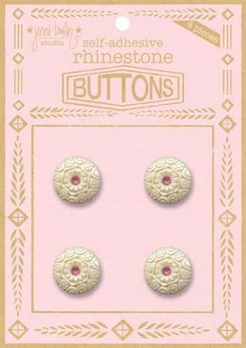 Rhinestone Button - Pink