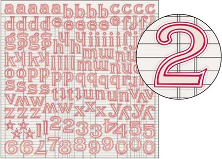 Large Alpha Stickers - Red Trim
