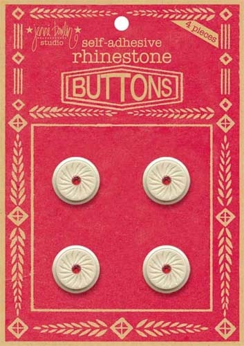 Rhinestone Button - Red
