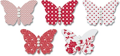 EB543 Red Vellum Butterflies
